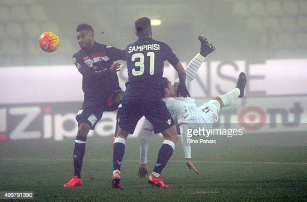 Marco Borriello of Carpi FC competes with Marco Samperisi of AC Vicenza during the TIM Cup match between Carpi FC and AC Vicenza Calcio at Alberto...