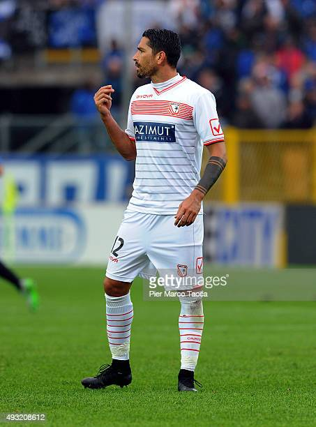 Marco Borriello of Carpi FC gestures during the Serie A match between Atalanta BC and Carpi FC at Stadio Atleti Azzurri d'Italia on October 18 2015...