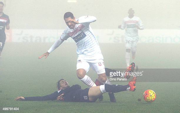 Marco Borriello of Carpi FC is challenged to Andrej Modic of AC Vicenza during the TIM Cup match between Carpi FC and AC Vicenza Calcio at Alberto...
