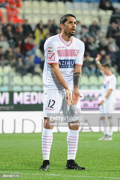 Marco Borriello of Carpi FC reacts during the Serie A match between Carpi FC and Bologna FC at Alberto Braglia Stadium on October 24 2015 in Modena...