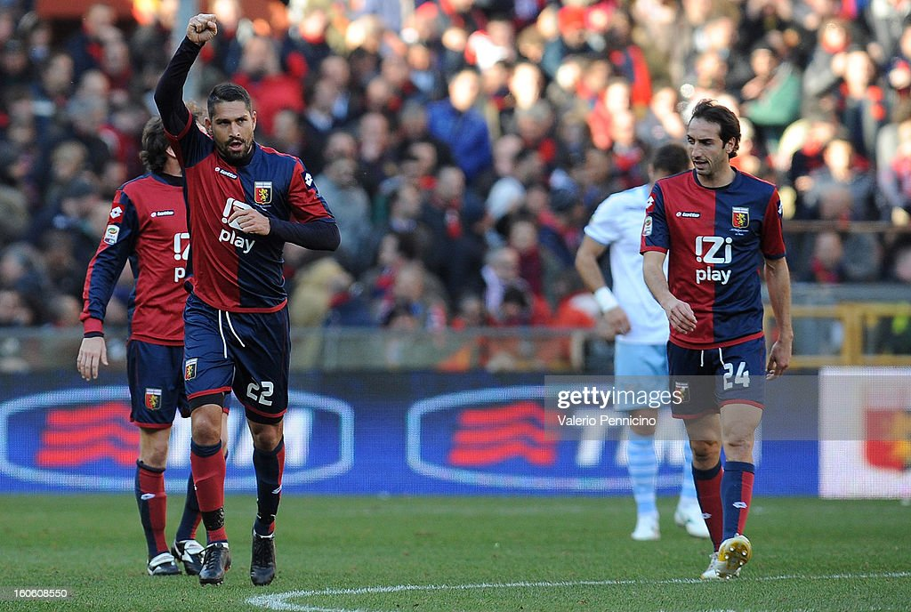Marco Borriello (L) of Genoa CFC celebrates his goal during the Serie A match between Genoa CFC and SS Lazio at Stadio Luigi Ferraris on February 3, 2013 in Genoa, Italy.