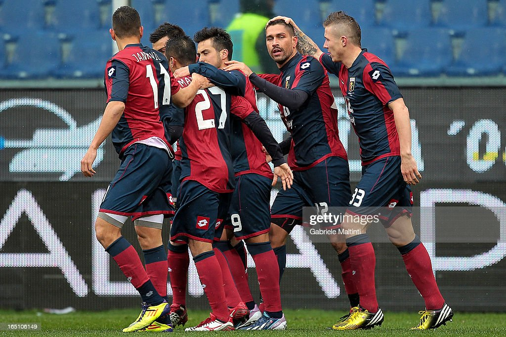 <a gi-track='captionPersonalityLinkClicked' href=/galleries/search?phrase=Marco+Borriello&family=editorial&specificpeople=709800 ng-click='$event.stopPropagation()'>Marco Borriello</a> (2nd L) of Genoa CFC celebrates with team-mates after scoring a goal during the Serie A match between Genoa CFC and AC Siena at Stadio Luigi Ferraris on March 30, 2013 in Genoa, Italy.