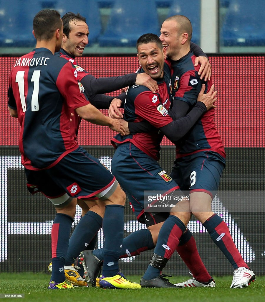 Marco Borriello (2nd L) of Genoa CFC celebrates with team-mates after scoring a goal during the Serie A match between Genoa CFC and AC Siena at Stadio Luigi Ferraris on March 30, 2013 in Genoa, Italy.