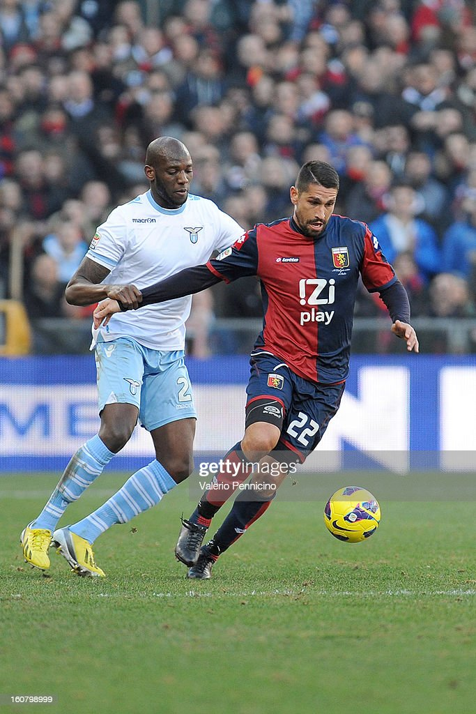 <a gi-track='captionPersonalityLinkClicked' href=/galleries/search?phrase=Marco+Borriello&family=editorial&specificpeople=709800 ng-click='$event.stopPropagation()'>Marco Borriello</a> (R) of Genoa CFC in action against Michael Ciani of S.S. Lazio during the Serie A match between Genoa CFC and SS Lazio at Stadio Luigi Ferraris on February 3, 2013 in Genoa, Italy.