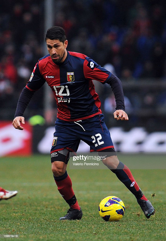 Marco Borriello of Genoa CFC in action during the Serie A match between Genoa CFC and Calcio Catania at Stadio Luigi Ferraris on January 20, 2013 in Genoa, Italy.