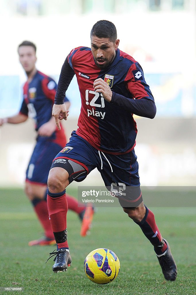 Marco Borriello of Genoa CFC in action during the Serie A match between Genoa CFC and SS Lazio at Stadio Luigi Ferraris on February 3, 2013 in Genoa, Italy.