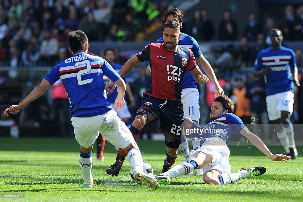 <a gi-track='captionPersonalityLinkClicked' href=/galleries/search?phrase=Marco+Borriello&family=editorial&specificpeople=709800 ng-click='$event.stopPropagation()'>Marco Borriello</a> (C) of Genoa CFC is challenged by Andrea Costa (R) of UC Sampdoria during the Serie A match between Genoa CFC and UC Sampdoria at Stadio Luigi Ferraris on April 14, 2013 in Genova, Italy.