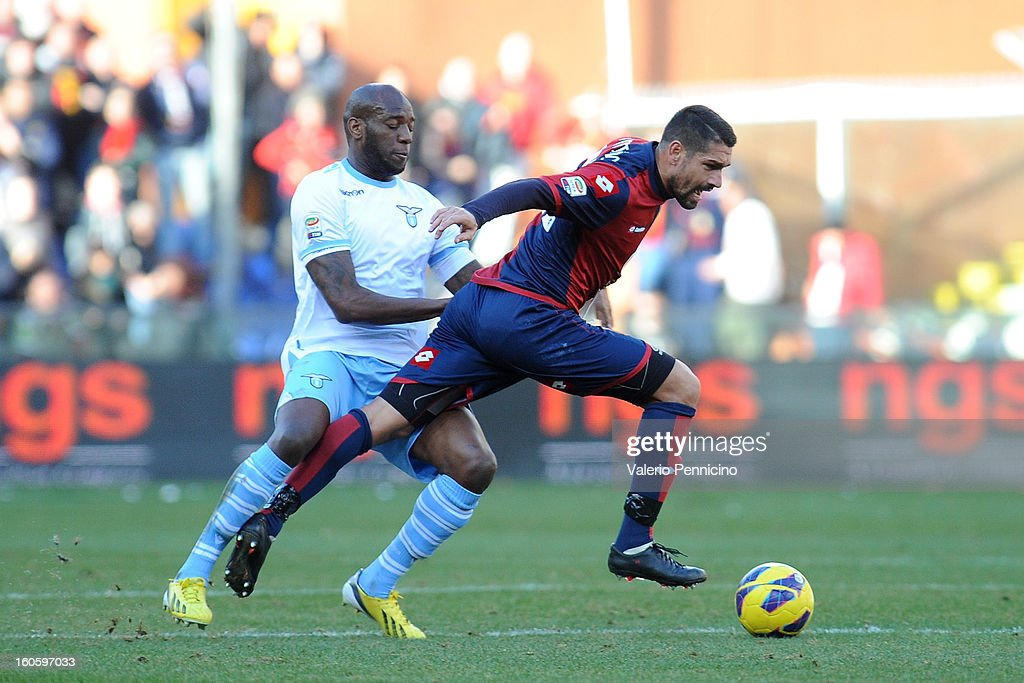 <a gi-track='captionPersonalityLinkClicked' href=/galleries/search?phrase=Marco+Borriello&family=editorial&specificpeople=709800 ng-click='$event.stopPropagation()'>Marco Borriello</a> (R) of Genoa CFC is challenged by Michael Ciani of S.S. Lazio during the Serie A match between Genoa CFC and SS Lazio at Stadio Luigi Ferraris on February 3, 2013 in Genoa, Italy.