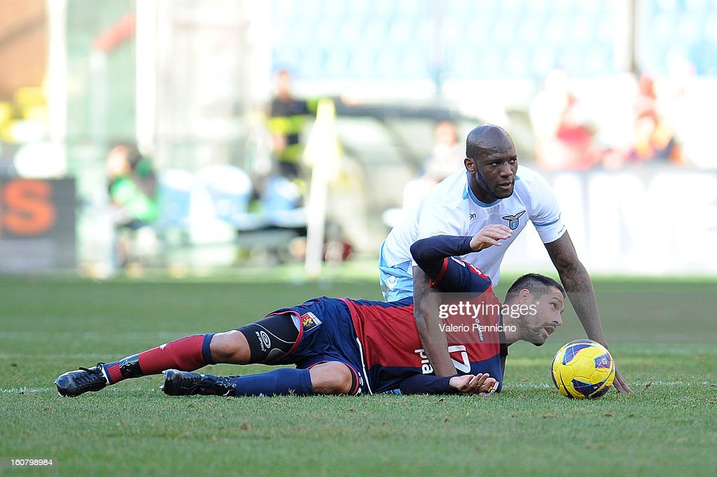 Marco Borriello of Genoa CFC is tackled by Michael Ciani of S.S. Lazio during the Serie A match between Genoa CFC and SS Lazio at Stadio Luigi Ferraris on February 3, 2013 in Genoa, Italy.