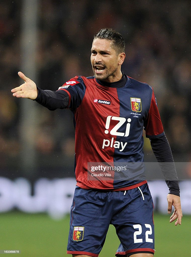 Marco Borriello of Genoa CFC reacts during the Serie A match between Genoa CFC and AC Milan at Stadio Luigi Ferraris on March 8, 2013 in Genoa, Italy.