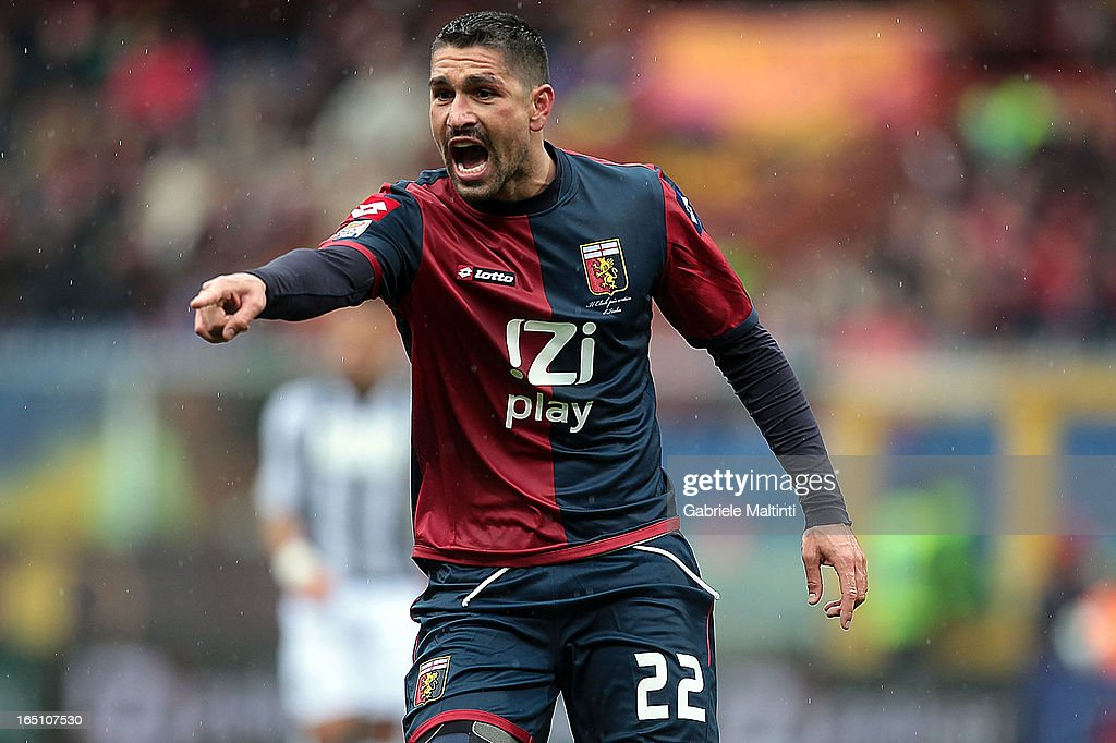 <a gi-track='captionPersonalityLinkClicked' href=/galleries/search?phrase=Marco+Borriello&family=editorial&specificpeople=709800 ng-click='$event.stopPropagation()'>Marco Borriello</a> of Genoa CFC reacts during the Serie A match between Genoa CFC and AC Siena at Stadio Luigi Ferraris on March 30, 2013 in Genoa, Italy.