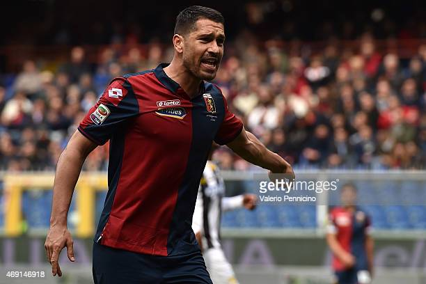 Marco Borriello of Genoa CFC reacts during the Serie A match between Genoa CFC and Udinese Calcio at Stadio Luigi Ferraris on April 4 2015 in Genoa...