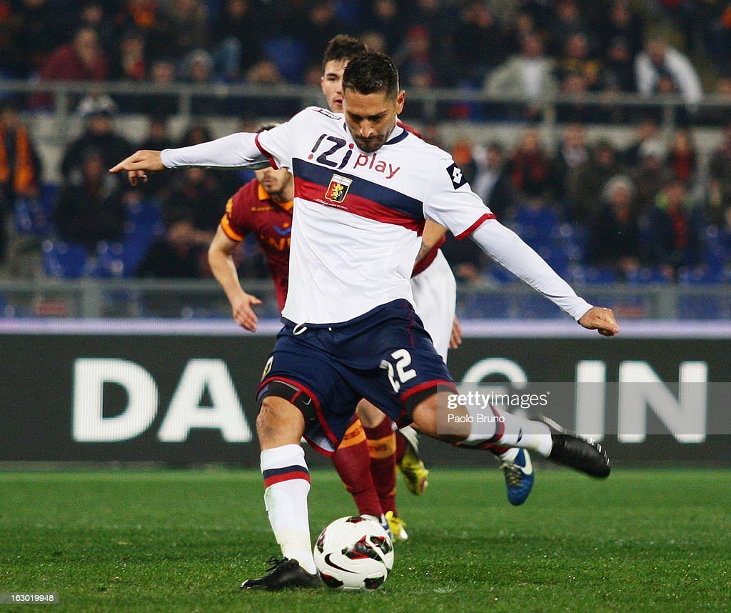 <a gi-track='captionPersonalityLinkClicked' href=/galleries/search?phrase=Marco+Borriello&family=editorial&specificpeople=709800 ng-click='$event.stopPropagation()'>Marco Borriello</a> of Genoa CFC scores the first team's goal from the penalty spot during the Serie A match between AS Roma and Genoa CFC at Stadio Olimpico on March 3, 2013 in Rome, Italy.