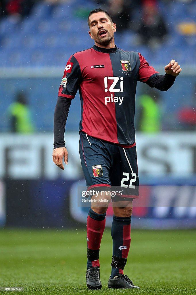 Marco Borriello of Genoa CFC shows his dejection during the Serie A match between Genoa CFC and AC Siena at Stadio Luigi Ferraris on March 30, 2013 in Genoa, Italy.