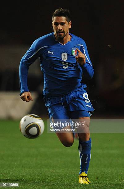 Marco Borriello of Italy in action during the International Friendly match between Italy and Cameroon at Louis II Stadium on March 3 2010 in Monaco...