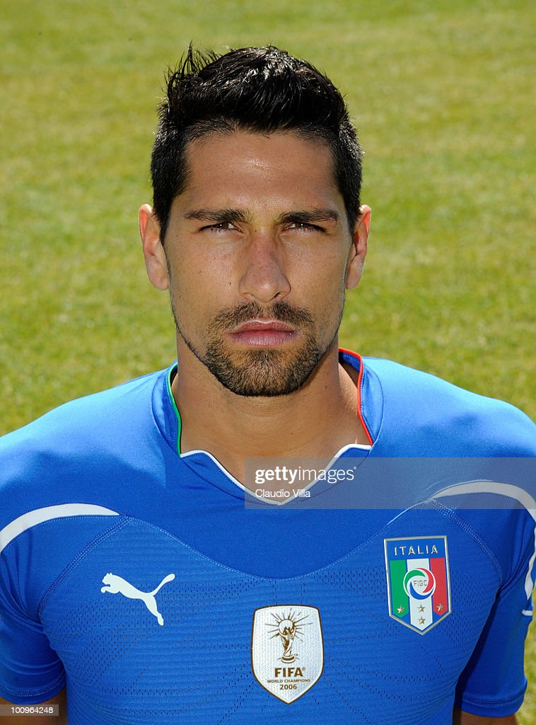 <a gi-track='captionPersonalityLinkClicked' href=/galleries/search?phrase=Marco+Borriello&family=editorial&specificpeople=709800 ng-click='$event.stopPropagation()'>Marco Borriello</a> of Italy poses during the official Fifa World Cup 2010 portrait session on May 26, 2010 in Sestriere near Turin, Italy.