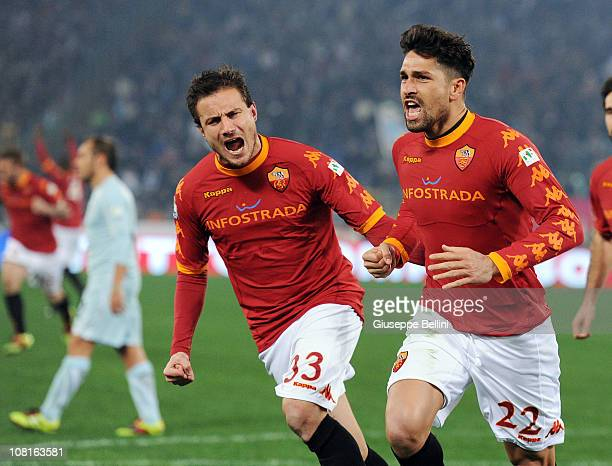 Marco Borriello of Roma celebrates after scoring the opening goal during the Tim Cup match between Roma and Lazio at Stadio Olimpico on January 19...