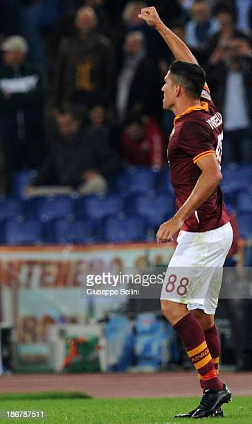 Marco Borriello of Roma celebrates after scoring the opening goal during the Serie A match between AS Roma and AC Chievo Verona at Stadio Olimpico on...