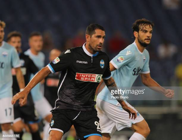 Marco Borriello of Spal and Marco Parolo of SS Lazio in action during the Serie A match between SS Lazio and Spal at Olimpico Stadium on August 20...