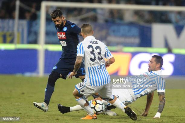 Marco Borriello of Spal competes the ball with Elseid Hysaj of SSC Napoli during the Serie A match between Spal and SSC Napoli at Stadio Paolo Mazza...