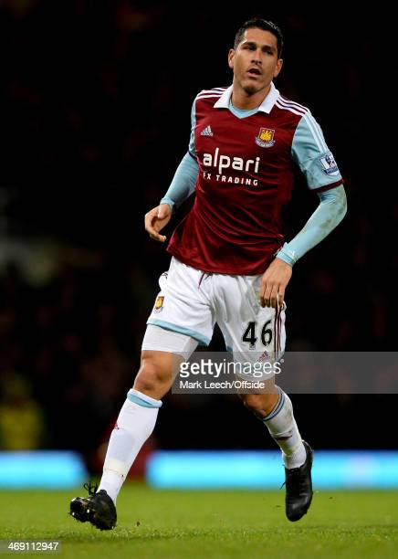 Marco Borriello of West Ham United in action during the Premier League match between West Ham United and Norwich City at Boleyn Ground on February 11...