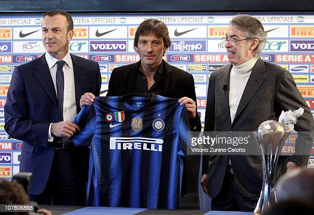 Marco Branca Leonardo Massimo Moratti attend a press conference during the unveiling of Fc Internazionale Milano new coach at Centro Sportivo Angelo...