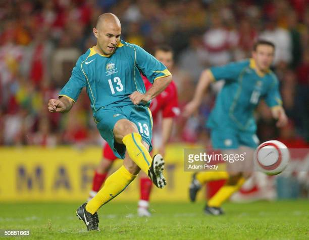 Marco Bresciano of Australia kicks a penalty goal during the Australia v Turkey friendly international soccer match as part of the 2006 World Cup...