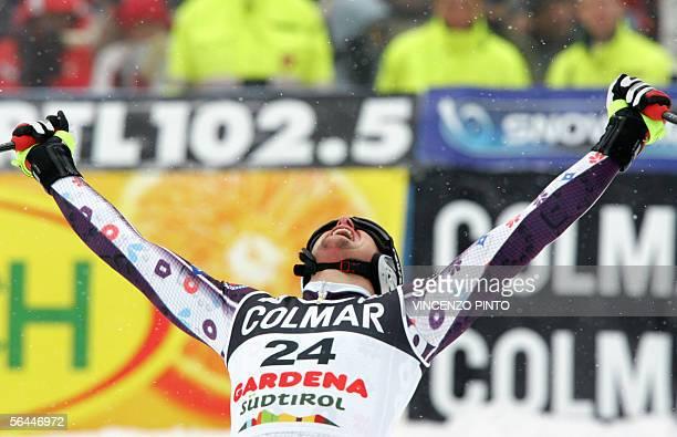 Marco Buechel of Liechtenstein celebrates his victory in the finish area of the Alpine Ski Downhill Men's race in Val Gardena 17 December 2005...
