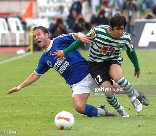 Marco Caneira and Candido Costa during the Portuguese Cup Final match between Belenenses and Sporting Lisbon held in Lisbon Portugal on May 27 2007