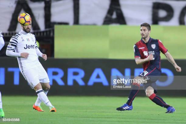 Marco Capuano of Cagliari in action during the Serie A match between Cagliari Calcio and Juventus FC at Stadio Sant'Elia on February 12 2017 in...