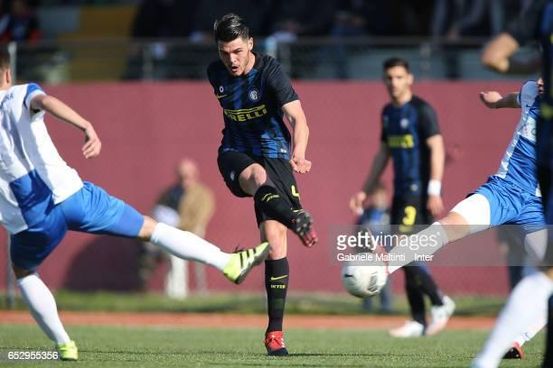 Marco Carraro Gravillon of FC Internazionale in action during the Viareggio juvenile tournament match between FC Internazionale and Pas Giannina at...