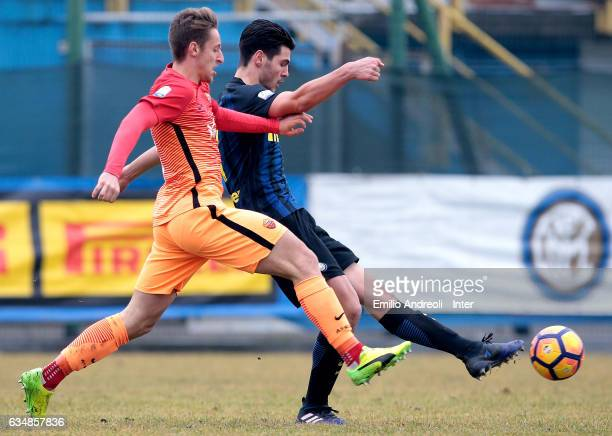 Marco Carraro of FC Internazionale Milano is challenged during the Primavera Tim juvenile match between FC Internazionale and AS Roma at Stadio Breda...