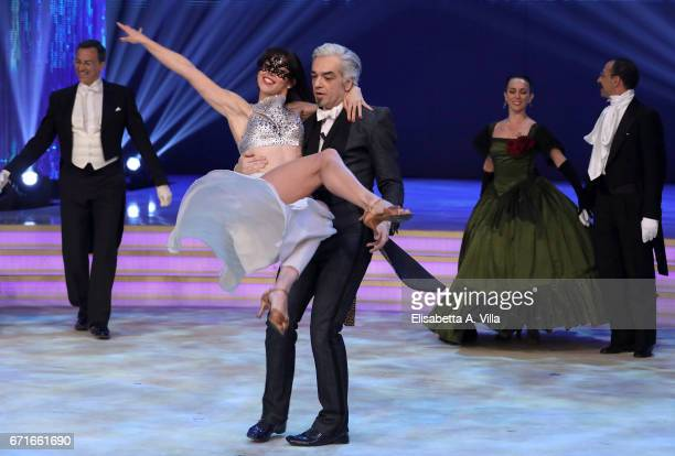 Marco Castoldi aka Morgan and his partner dancer Ekaterina Vaganova perform on the Italian TV show 'Ballando Con Le Stelle' at Auditorium Rai on...