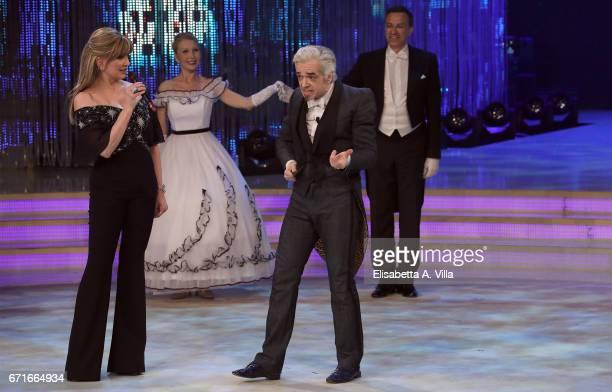 Marco Castoldi aka Morgan and Milly Carlucci attend the Italian TV show 'Ballando Con Le Stelle' at Auditorium Rai on April 22 2017 in Rome Italy