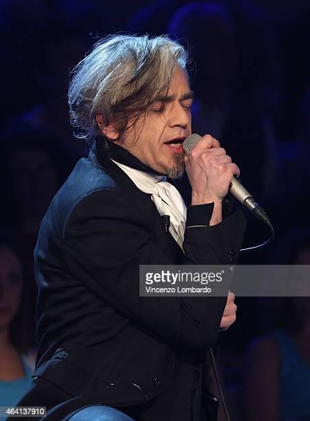 Marco Castoldi alias Morgan performs at 'Quelli Che Il Calcio' Tv Show on February 22 2015 in Milan Italy