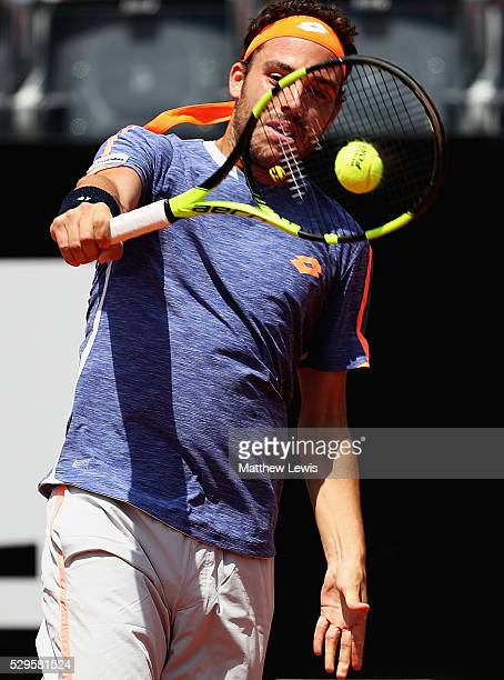 Marco Cecchinato of Italy in action against Milos Raonic of Canada during day two of The Internazionali BNL d'Italia 2016 on May 09 2016 in Rome Italy