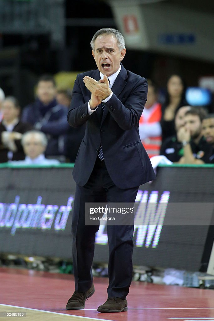 Marco Crespi, head coach of Montepaschi Siena in action during the 2013-2014 Turkish Airlines Euroleague Regular Season Date 7 game between Montepaschi Siena v FC Bayern Munich at Nelson Mandela Forum on November 29, 2013 in Florence, Italy.