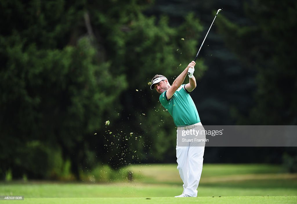 Marco Crespi of Italy plays a shot during the final round of the Omega European Masters at CranssurSierre Golf Club on July 26 2015 in CransMontana...