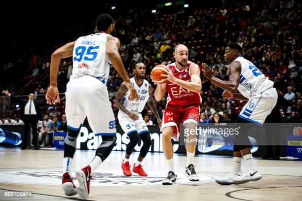 Marco Cusin drives to the basket during a basketball game of Poste Mobile Lega Basket A between EA7 Emporio Armani Milano vs Happy Casa Brindisi at...