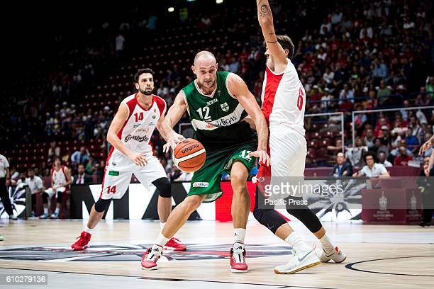Marco Cusin drives to the basket during the semifinal of Macron Supercoppa 2016 basketball match between Sidigas Avellino vs Grissin Bon Reggio...
