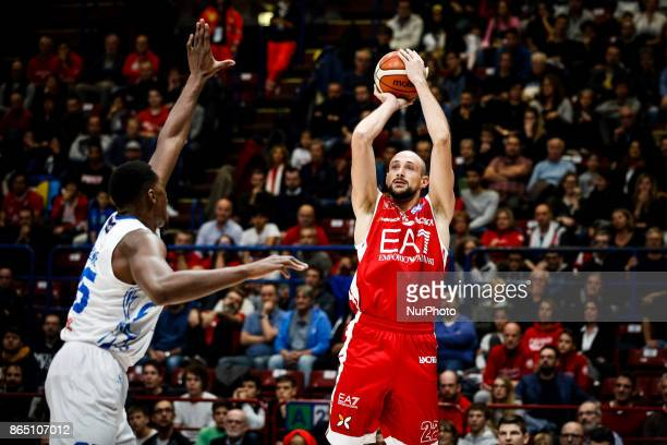 Marco Cusin shoots a layup during a basketball game of Poste Mobile Lega Basket A between EA7 Emporio Armani Milano vs Happy Casa Brindisi at...