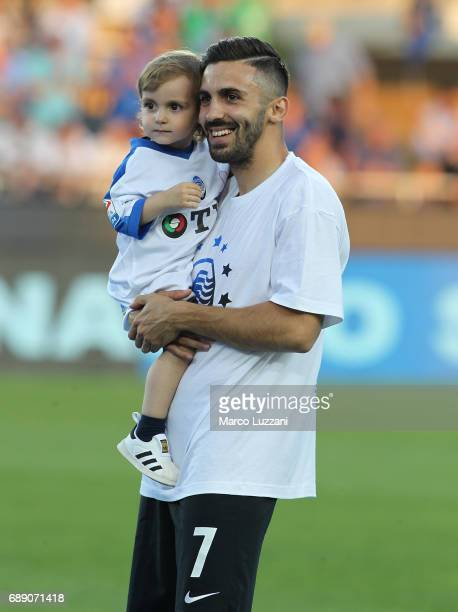 Marco D Alessandro of Atalanta BC celebrates the qualification at UEFA Europa League 2017/18 at the end of the Serie A match between Atalanta BC and...