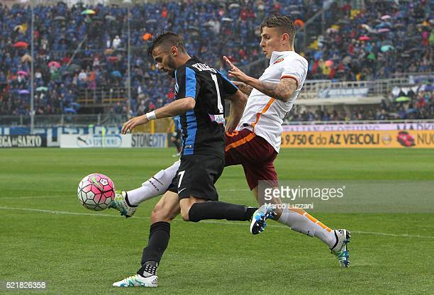 Marco D Alessandro of Atalanta BC competes for the ball with Lucas Digne of AS Roma during the Serie A match between Atalanta BC and AS Roma at...