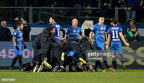 Marco D'Alessandro of Atalanta BC is mobbed by team mates after scoring his team's second goal during the Serie A match between Atalanta BC and...