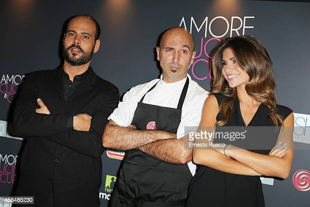 Marco D'Amore Andrea Ribaldone and Alessia Ventura attend the 'The HundredFoot Journey' photocall at Hotel Radisson Blu on October 1 2014 in Rome...