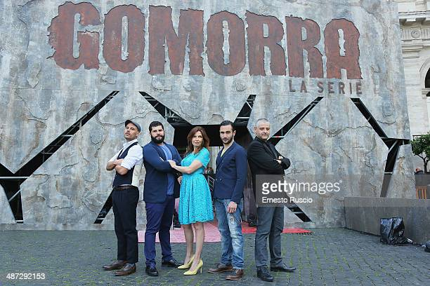 Marco D'Amore Salvatore Esposito Maria Pia Calzone Marco Parvetti and Fortunato Cerlino attend the 'Gomorra La Serie' photocall at The Space Cinema...