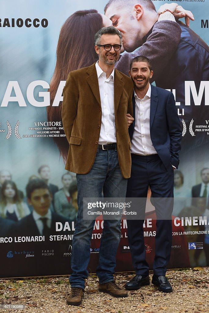 Marco Danieli and Michele Riondino attend a photocall for 'La Ragazza Del Mondo' on November 8, 2016 in Rome, Italy.
