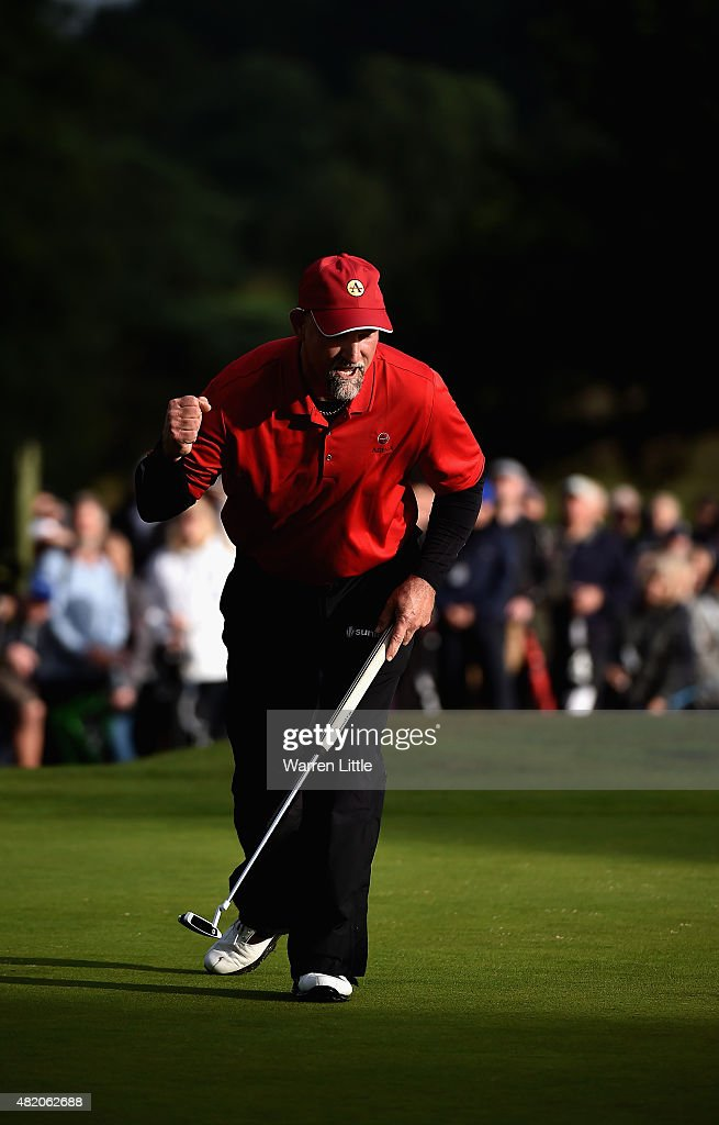 Marco Dawson of the USA putts on the 18th green to win The Senior Open Championship on the Old Course at Sunningdale Golf Club on July 26 2015 in...