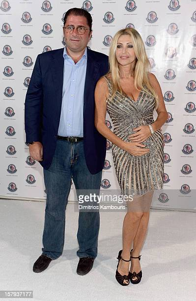 Marco De Benedetti and Paola Ferrari attend a private dinner celebrating Remo Ruffini and Moncler's 60th Anniversary during Art Basel Miami Beach on...