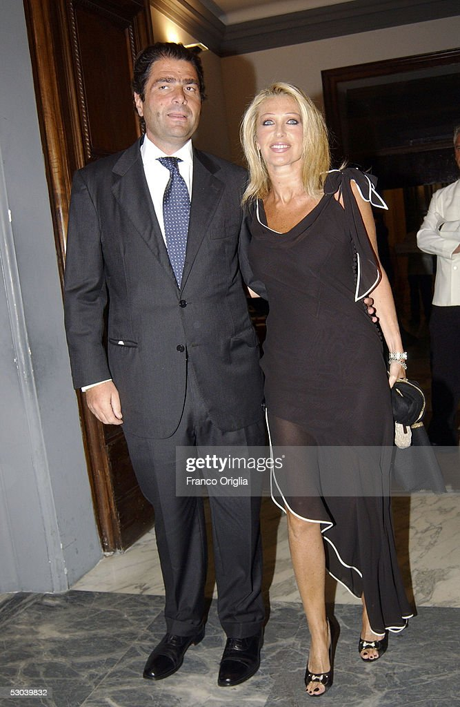 Marco De Benedetti and Paola Ferrari attend the Heart Of Children Benefit Gala at the Protomoteca Terrace at the Capitole on June 8, 2005 in Rome, Italy.